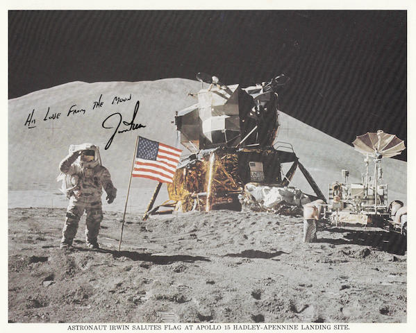 IRWIN SALUTES OLD GLORY WITH MOUNT HADLEY IN THE BACKGROUND - SIGNED