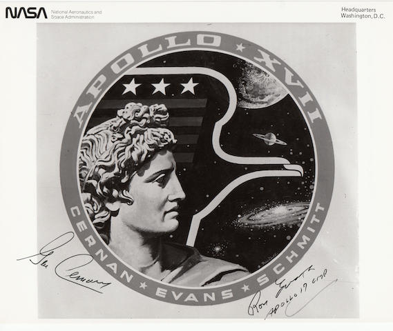 THE LAST APOLLO CREW EMBLEM—SIGNED. Black and white photograph, 8 x 10 inches.
