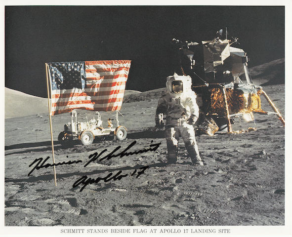 12TH MAN ON THE MOON AND OLD GLORY. Color photolithograph, 8 x 10 inches.