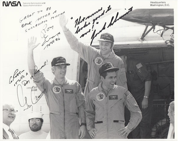 THE LAST APOLLO CREW RETURNS HOME WITH SMILES – CREW SIGNED.