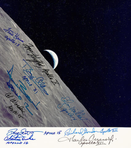 THE LAST EARTH RISE?—DECEMBER 1972. SIGNED BY 10 APOLLO ASTRONAUTS.  Color photograph, 7½ x 7½ inch full-frame 70mm Hasselblad image,