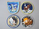 LION BROTHERS CREW MISSION EMBLEMS. Cloth crew mission emblems, 15 total,
