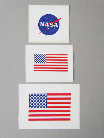 "THE NASA ""MEATBALL"" AND U.S. FLAGS"