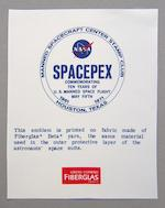APOLLO CREW MISSION EMBLEMS AND SPACEPEX. Five emblems printed on Beta cloth: