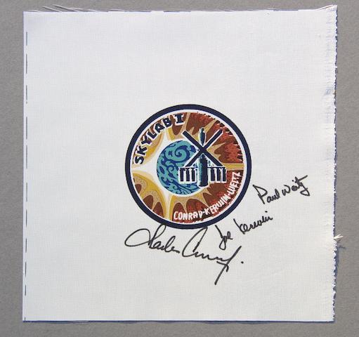 SKYLAB I CREW BETA EMBLEM—SIGNED. Skylab I crew Beta emblem,