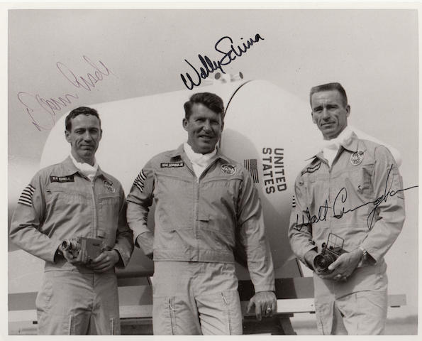 SCHIRRA AND CREW WITH CAMERAS AND SCARFS – CREW SIGNED