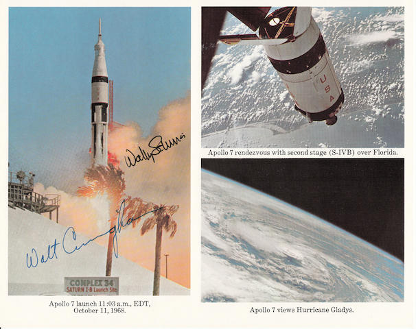 APOLLO 7 FLIGHT VIEWS. Color photolithograph,