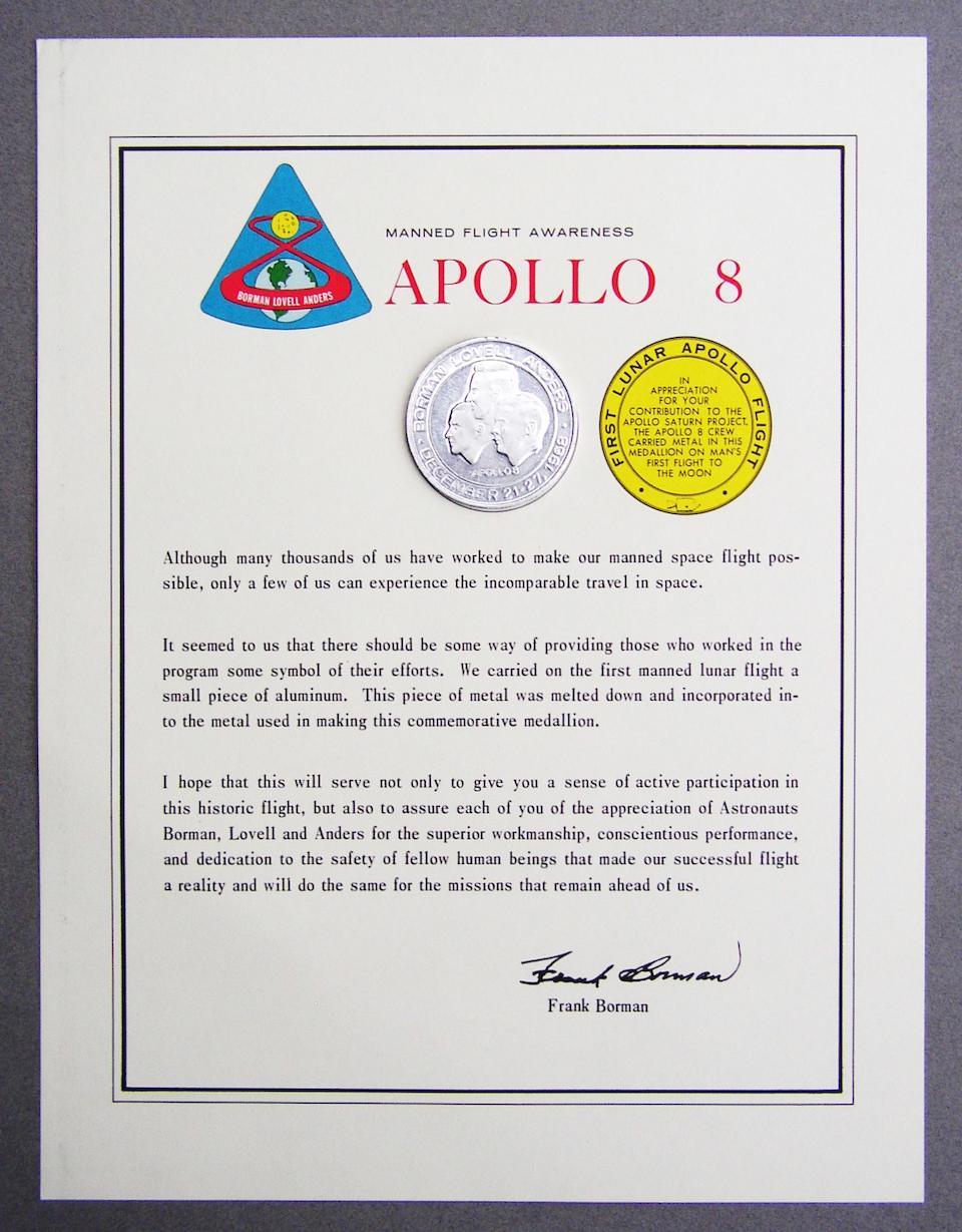 Bonhams : FLOWN MANNED FLIGHT AWARENESS MEDALLION  Apollo 8