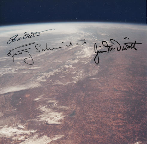 FIRST MANNED LUNAR MODULE CREW, APOLLO 9 – CREW SIGNED ORBITAL IMAGE
