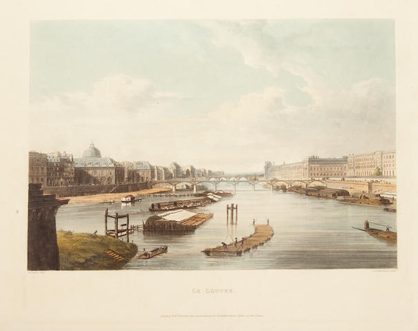 SAUVAN, JEAN BAPTISTE BALTHAZAR.  A Picturesque Tour of the Seine From Paris to the Sea....  L: 1821.  3/4 morocco.  Edition of 50, large paper copy, uncut, original wrappers bound in at rear.
