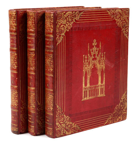 ACKERMANN, RUDOLPH, pub.  Microcosm of London.  L: 1808-1810.  3 vols.  Contemporary red morocco.  First edition.