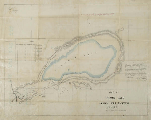 MSS Map of Pyramid Lake, 1874, identifying Piute Reservation, poss. sgd. by U.S. Grant.