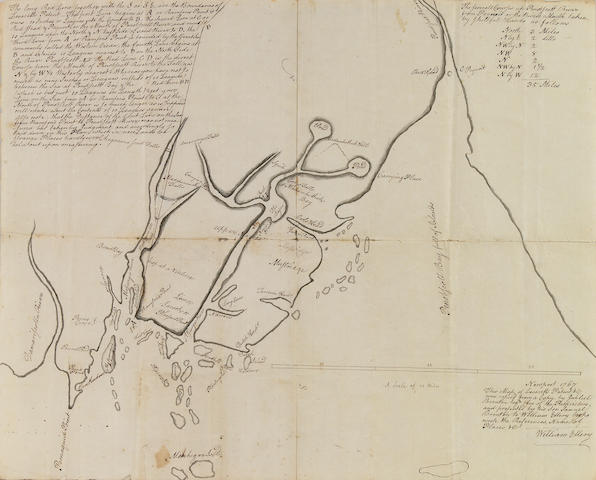 "ELLERY, WILLIAM. MSS Map of Penoscot Bay - the ""Leverett Grant"" - 1767 w/3 supporting documents."