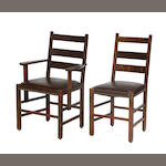 A set of eight Arts and Crafts chairs