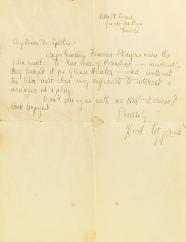 "Fitzgerald, F. Scott C. 1925; letter laid into copy of ""This Side of Paradise"" (spine perished)"