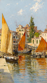 Antonietta Brandeis (Czechoslovakian, 1849-1910) Palazzo Albrizzi; Fishing boats, Venice (a pair) 10 x 6in (25.4 x 15.3cm)