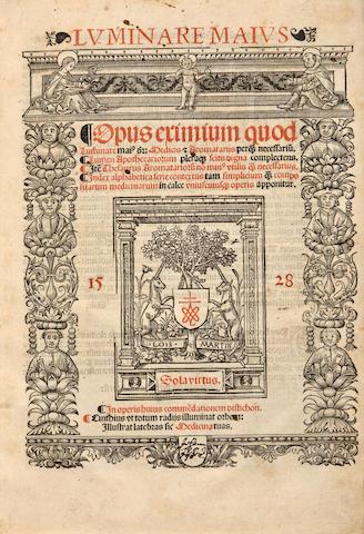 MANLIIS, JOHANNES JACOBUS DE. Luminare maius. Opus eximium quod Luminare mai[us] di[citur], Medicis & Aromatariis, perq[uam] necessariu[m]. Lumen Apothecariorum ... Item Thesaurus Aromatarioru[m]. Lyon: Antoine Blanchard for Louis Martin, January 15, 1528.