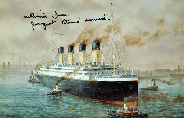Postcard signed by youngest survivor of the Titanic