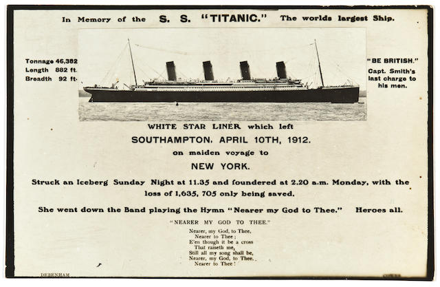 "Single '""In Memory of the S.S. Titanic."" The worlds largest Ship' postcard"
