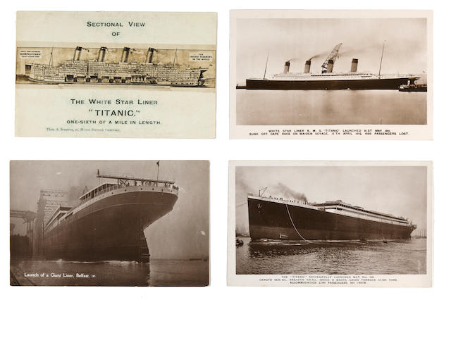 [R.M.S. Titanic] A group of four postcards relating to her building<BR /> circa 1911 3-1/2 x 5-1/2 in. each. 4