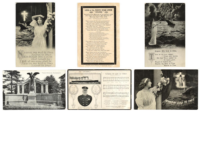 [R.M.S. Titanic] A group of six memorial postcards circa 1912 3-1/2 x 5-1/2 in. each. 6