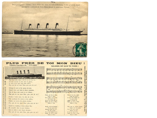 2 French Titanic postcards