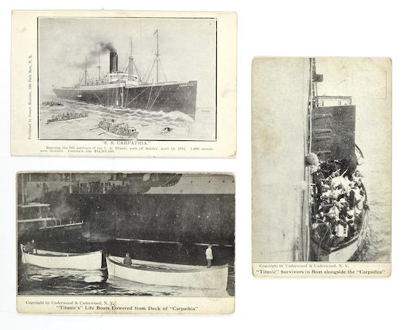 [CARPATHIA] A group of three postcards relating to the recovery of the R.M.S. Titanic's lifeboats  1912 3-1/2 x 5-1/2 in. (8.9 x 14 cm.) each. 3