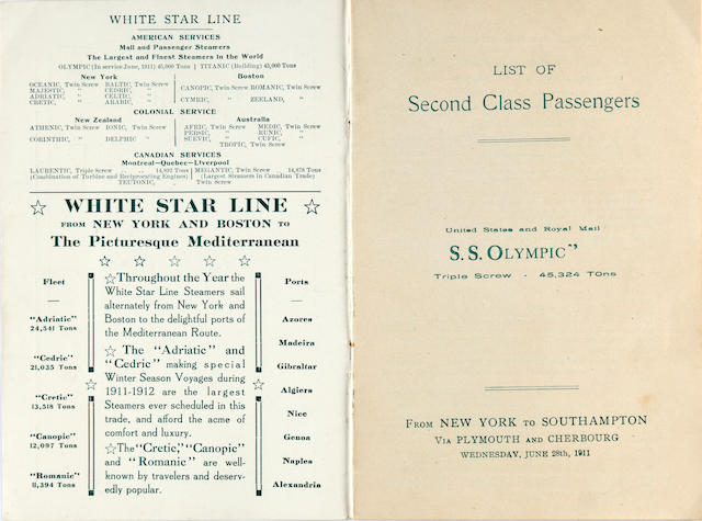 [OLYMPIC] and [OLYMPIC-TITANIC] A second class passenger list and a White Star Line booklet  June 28th 1911 7-1/4 x 5 in. (18.4 x 12.7 cm.) the passenger list; 4 x 6-3/4 in. (10.2 x 17.1 cm.) the brochure. 2