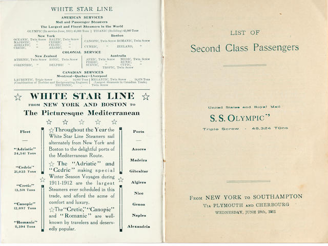 An <i>R.M.S. Olympic</i> second class passengers booklet, along with a White Star Line brochure