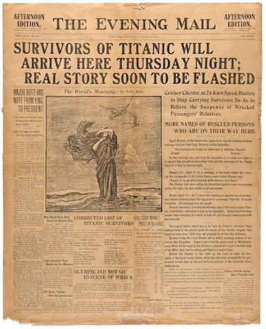 [TITANIC] The Evening Mail  New York, Wednesday, April 17, 1912 23 x 18-1/4 in. (  cm.)