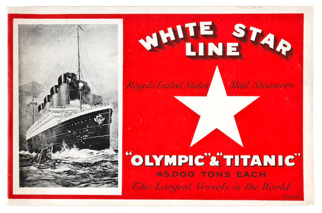 [OLYMPIC - TITANIC] A White Star Line brochure and cut-a-way deck plan  May 1911 5-1/2 x 8-1/2 in. (14 x 21.6 cm.) the brochure, 9-1/2 x 43 in. (24.1 x 109.2 cm.) the cut-a-way 2