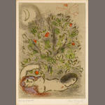 Marc Chagall (Russian/French, 1887-1985); Paradis, Pl. 3, from Dessins pour la Bible;