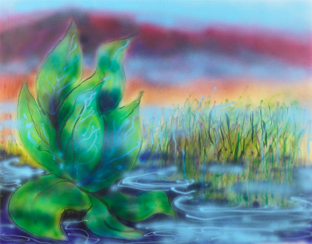 A Jerry Garcia original artwork, airbrush on heavy paper, Wetlands II