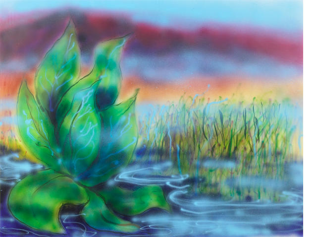 "A Jerry Garcia original artwork, airbrush on canvas, ""Wetlands II."""