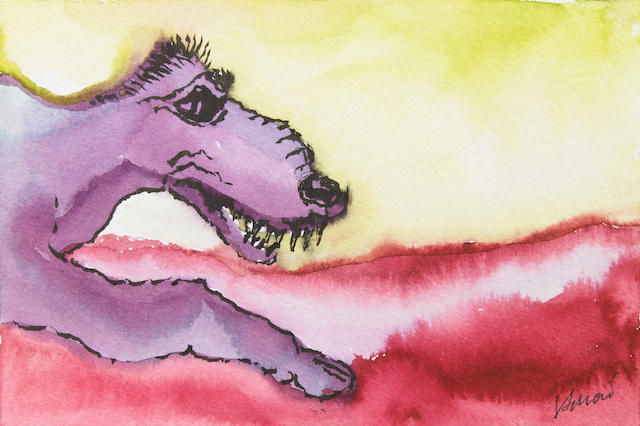 "A Jerry Garcia original artwork, watercolor on paper, ""Purple Dog."""