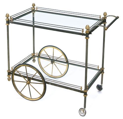A French bronze, steel and glass cocktail cart  adapted by Tony Duquette