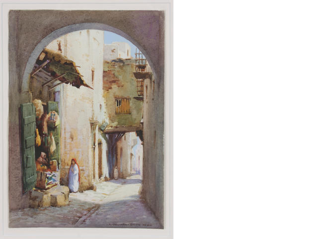 Robert Herdman-Smith (British, born 1879) An arched street in Algiers; An Arab shop in Algiers (a pair) each 11 x 7 3/4in