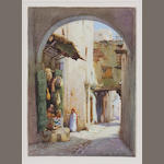 Robert Herdman-Smith (British, born 1879) An arched street in Algiers; An Arab shop in Algiers (a pair) each 11 x 7 3/4in