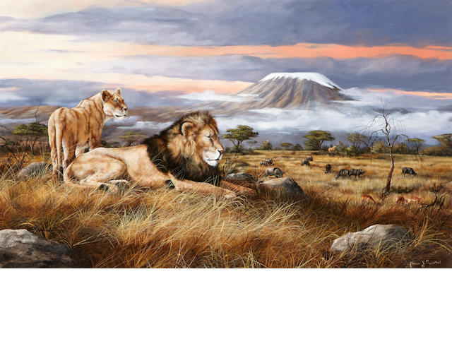 Trevor V. Swanson (American, born 1968) Lions overlooking the plains 30 x 50in