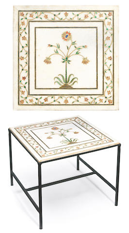 An Italian hardstone inlaid, enameled, gilded and wrought iron side table third quarter 20th century