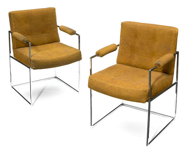 A pair of Milo Baughman for Thayer Coggin chromed metal and suede cloth open armchairs 1970s