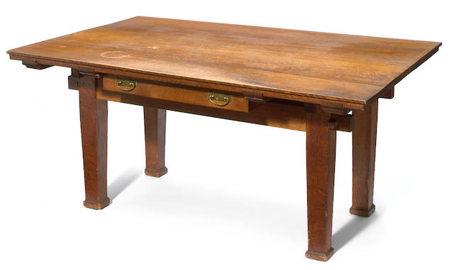 A Bernard Maybeck oak writing table early