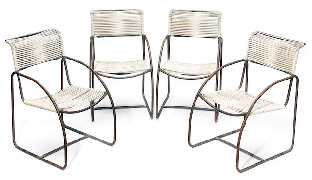 A set of four Kipp Stewart bronze and cord chairs