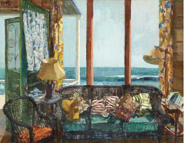 Roger Kuntz (1926-1975) Beach Windows (Interior of the Artist's Home, Kortlander Cottage, Crystal Cove), 1958 40 x 50in