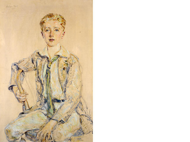 Robert Reid, Portrait of a boy, 1920, signed and dated u/l, o/c, 36 x 24in