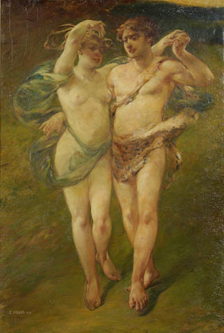 Emile Renard (French, 1850-1930), Bacchanalian Couple, oil on board, 33 x 21in