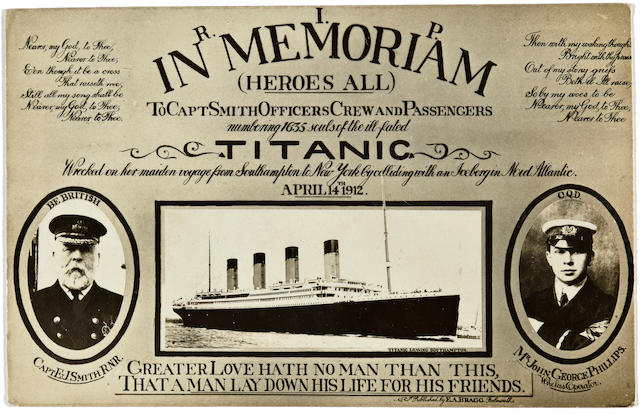 [TITANIC] Memorial postcard with Capt. Smith  circa 1912 3-1/2 x 5-1/2 in. (8.9 x 14 cm.) 1