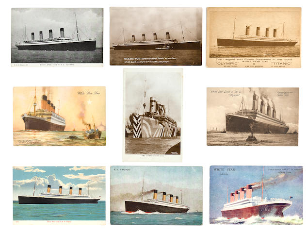 [OLYMPIC - TITANIC] A group of nine pre-disaster postcards for the White Star Line  1910-1930 3-1/2 x 5-1/2 in. (8.9 x 14 cm.) each. 9