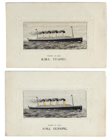 2 silk Titanic postcards