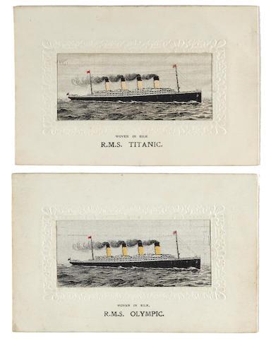 2 silk Titanic postcards